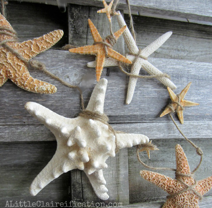 Starfish garland, by A Little Claireification, featured on Funky Junk Interiors