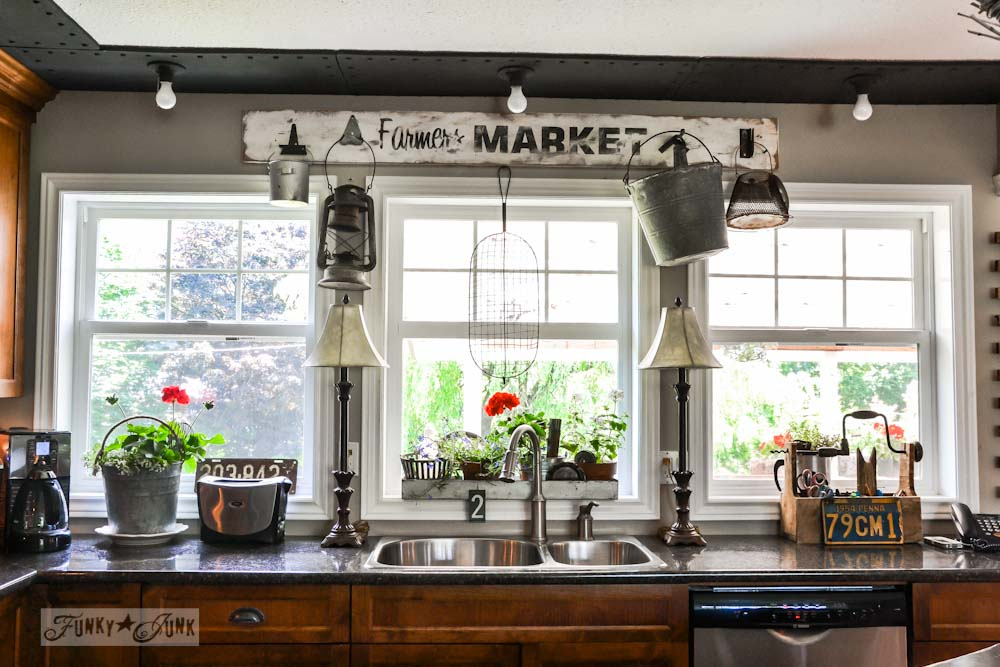 Farmers Market sign above windows in rustic kitchen, via Funky Junk Interiors