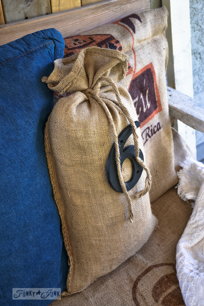 Sandbag pillow with house number via Funky Junk Interiors
