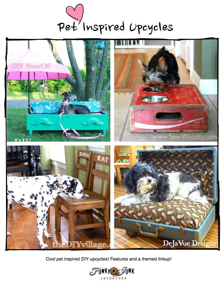 Pet Inspired Projects! Adorable upcycled projects geared for pets, with a themed linkup. Bring yours, or just come be inspired. via Funky Junk Interiors