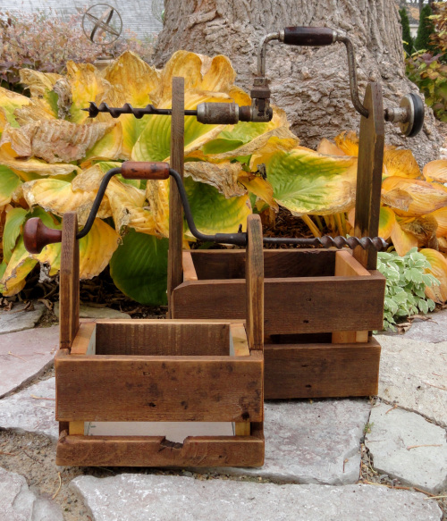 Drill handled reclaimed wood toolboxes, by Freddy and Petunia