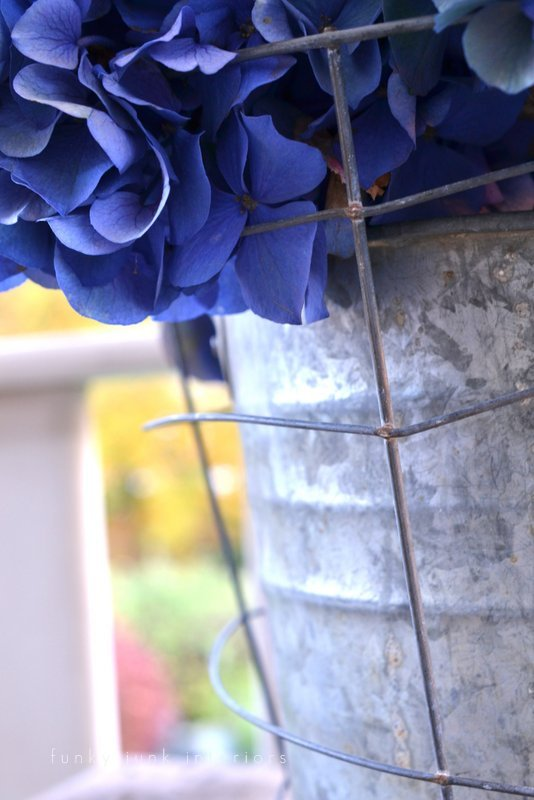 flowers in creative junk vases funky junk interiors - blue hydrangeas in galvanized bucket