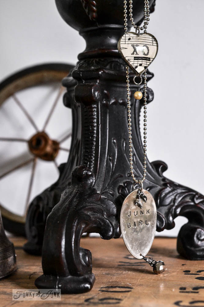 lamp jewelry in master bedroom via Funky Junk Interiors