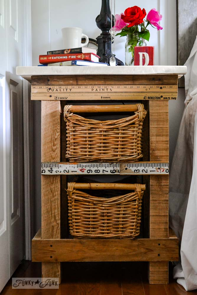 Pallet wood night table in bedroom via Funky Junk Interiors