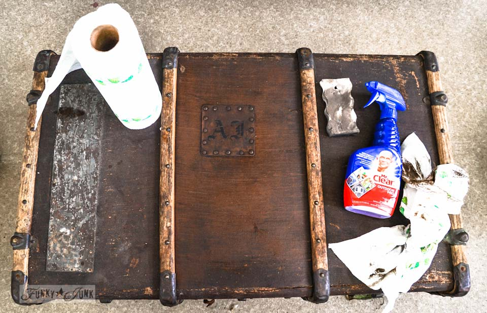 cleaning up old antique trunk with Mr. Clean