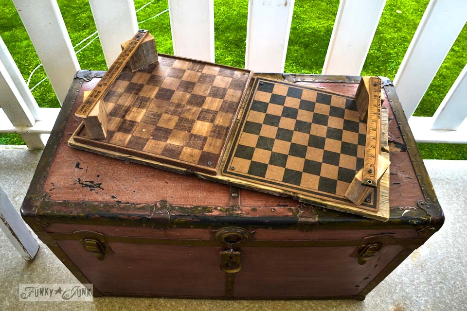 old trunk checkerboard tray