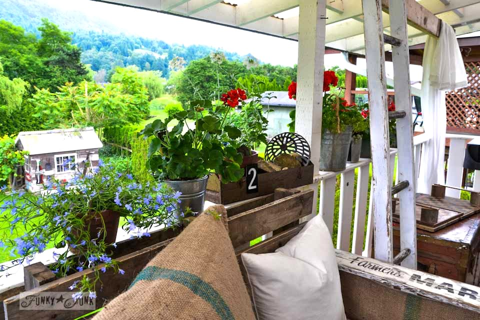 outdoor flowers on patio rail