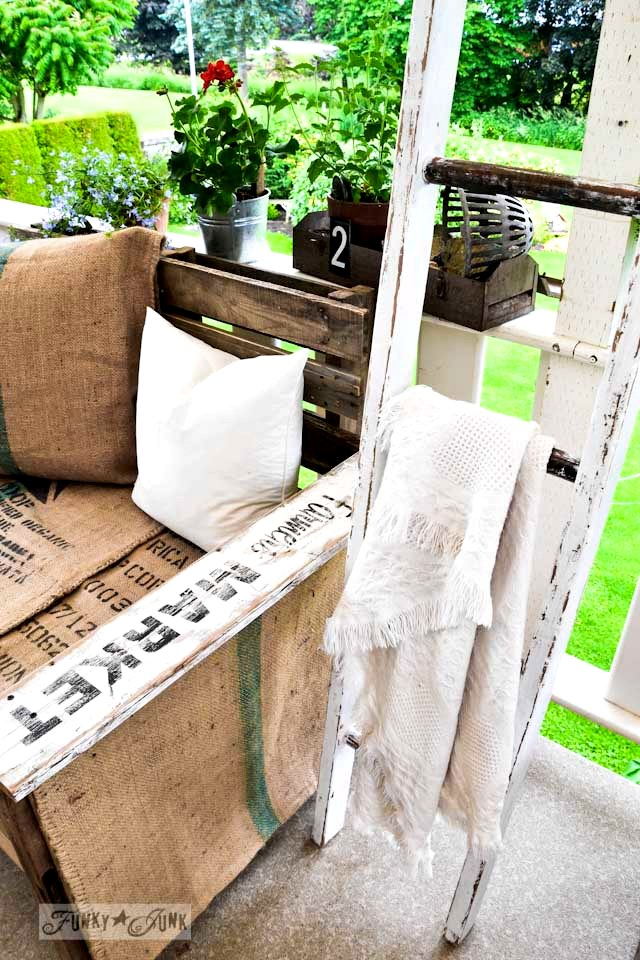 old ladder to hang blankets or towels