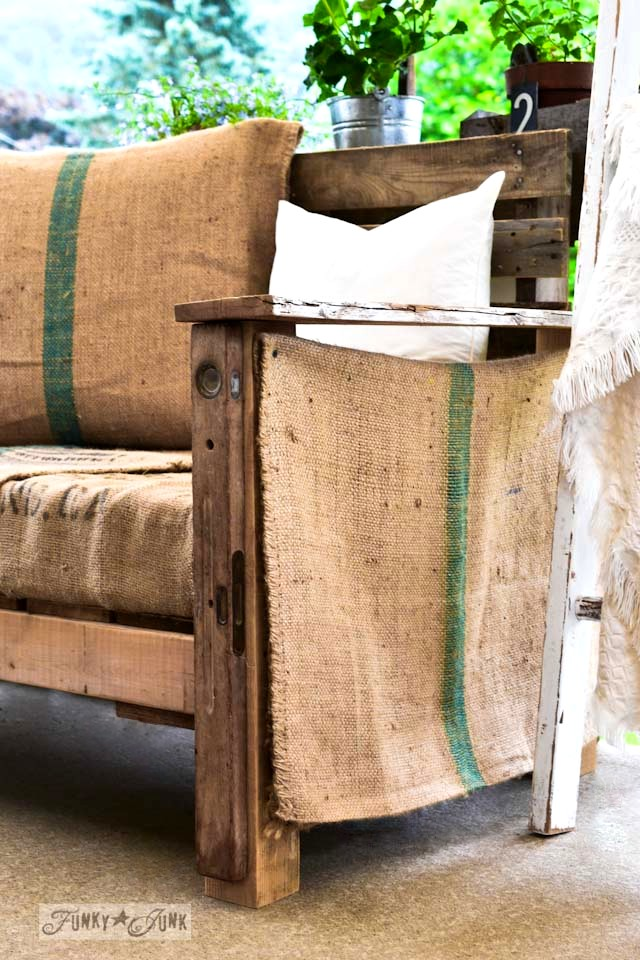 pallet sofa with burlap upholstery and sides