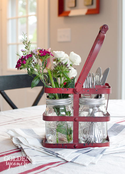 Red metal carrier kitchen vignette by The Golden Sycamore, featured on Funky Junk Interiors