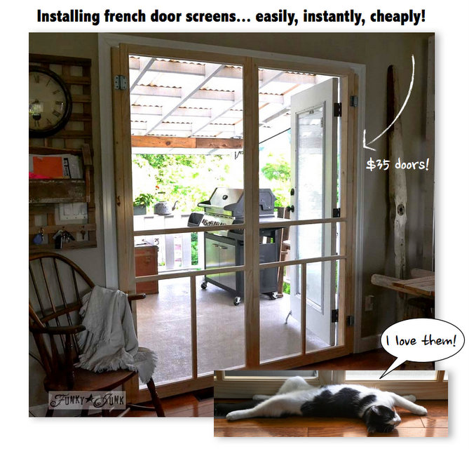 Installing screen doors on french doors... easy and cheap! via Funky Junk  sc 1 st  Funky Junk Interiors & Installing screen doors on french doors... easy and cheap!Funky Junk ...