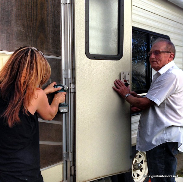 The $1.67 travel trailer door fix and a lesson. via Funky Junk Interiors