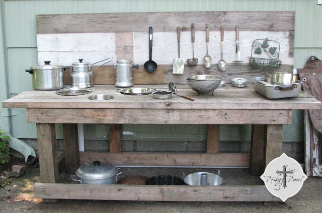 Mud bar / outdoor kitchen for kids by Prodigal Pieces, featured on Funky Junk Interiors