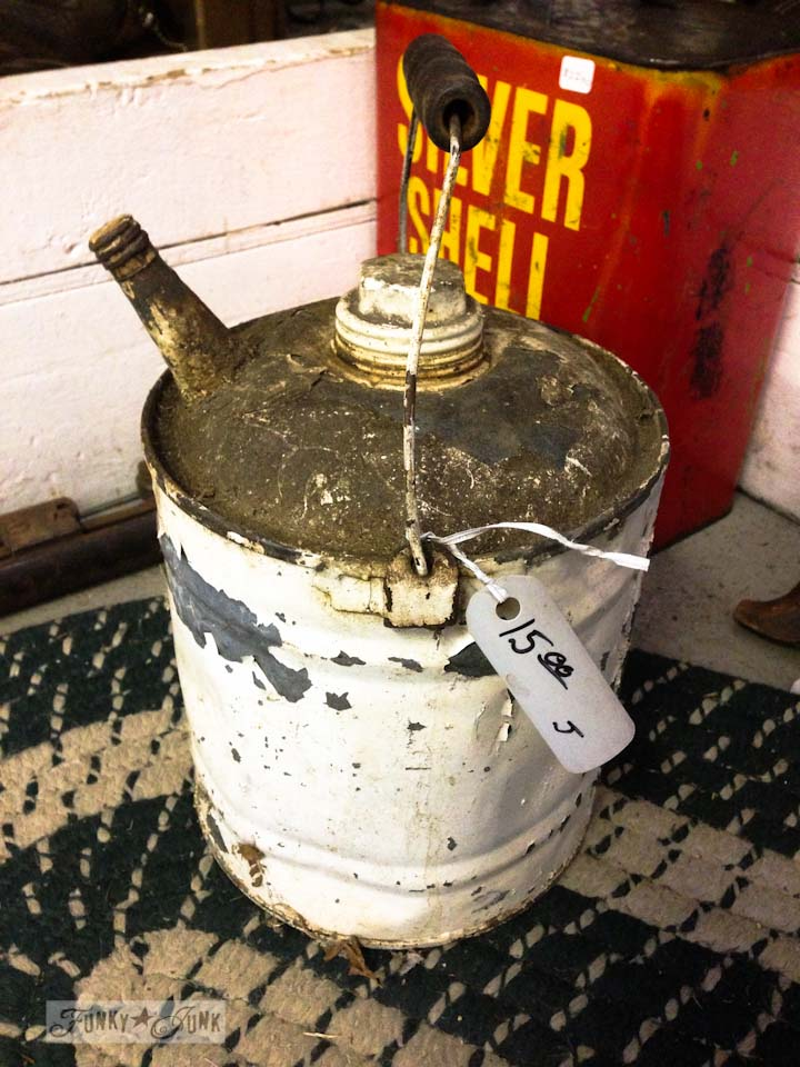Junkin' at Rusty's - white chippy gas can