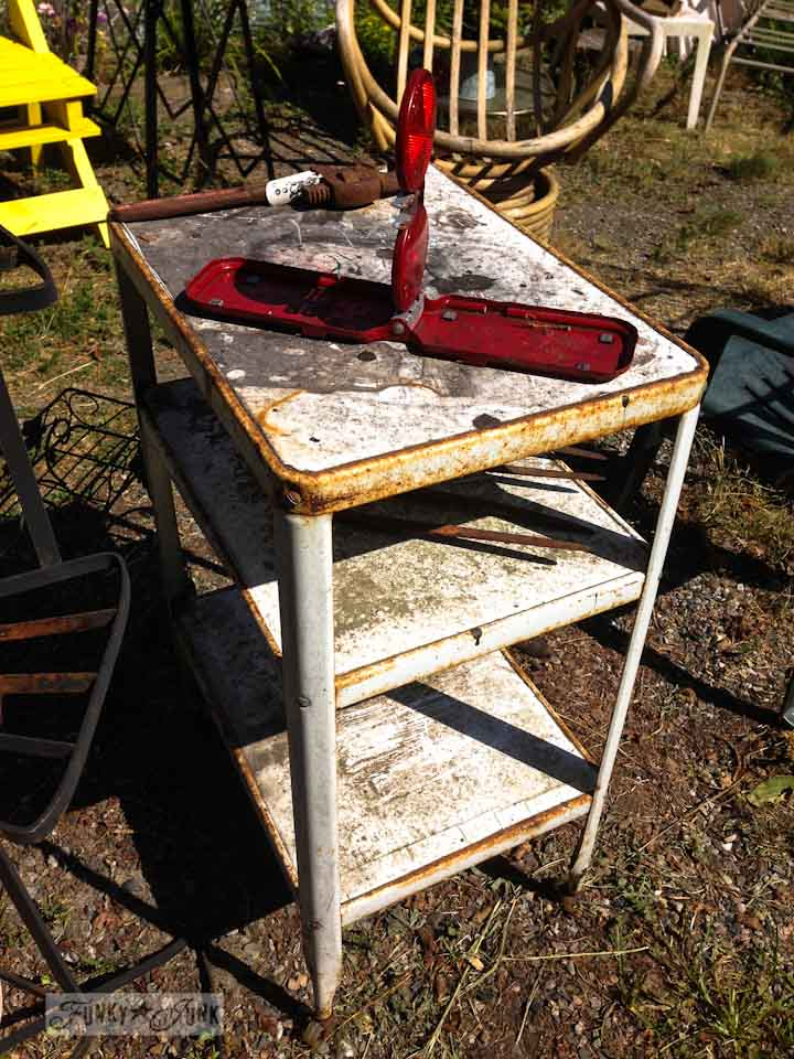 Junkin' at Rusty's - metal white shelf