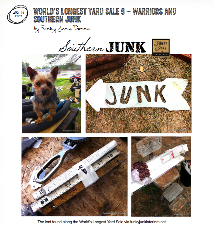 World's Longest Yard Sale - a 10 part series on taking in this incredible junkfest through 6 states, via Funky Junk Interiors