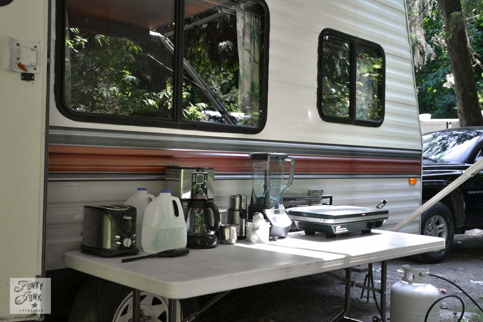 Outdoor kitchen & Tips for camping in a travel trailerFunky Junk Interiors