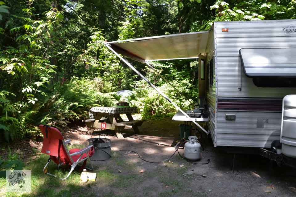 Camping tips for setting up a travel trailer - backing up, sewer adapters, choking wheels, and more! | funkyjunkinteriors.net