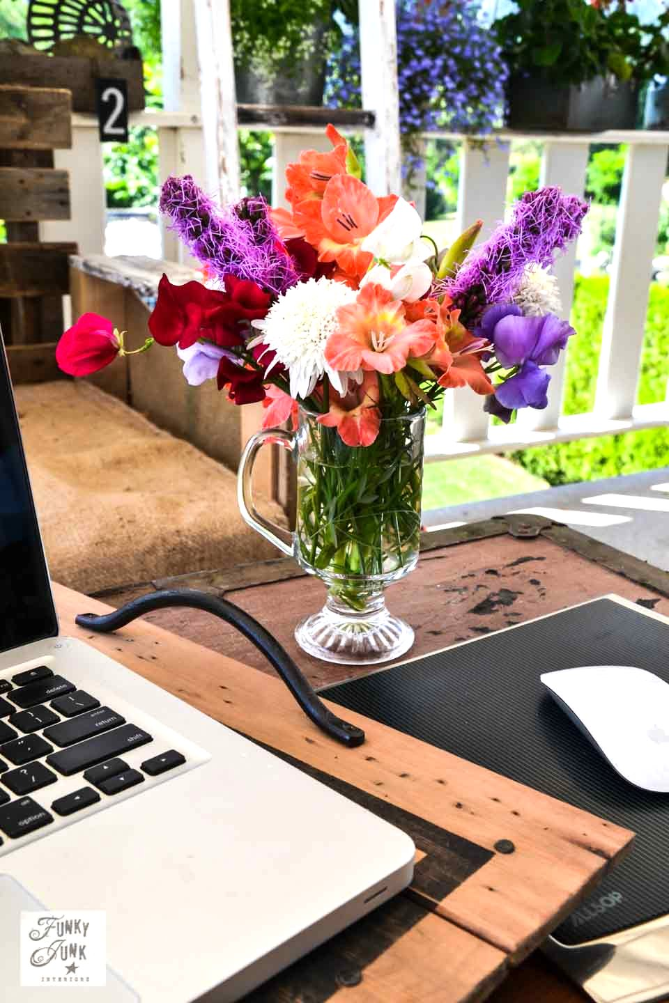 A Flower Filled Outdoor Patio Office