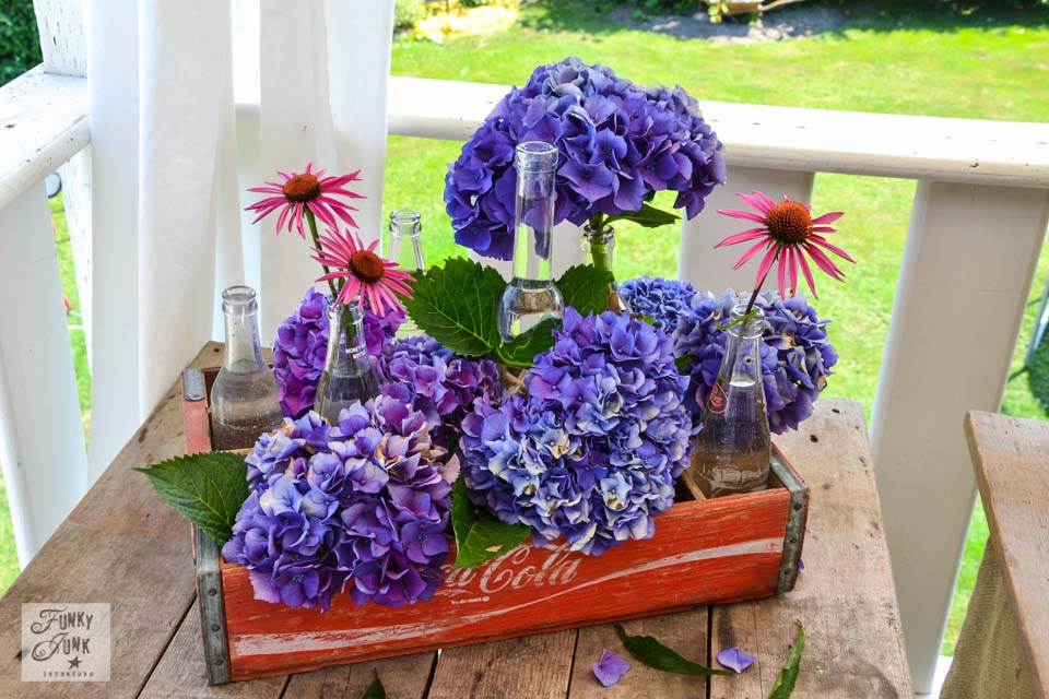 Merveilleux A Flower Filled Outdoor Patio Office Via Funky Junk Interiors   Coke Crate  Hydrangea Centrepiece