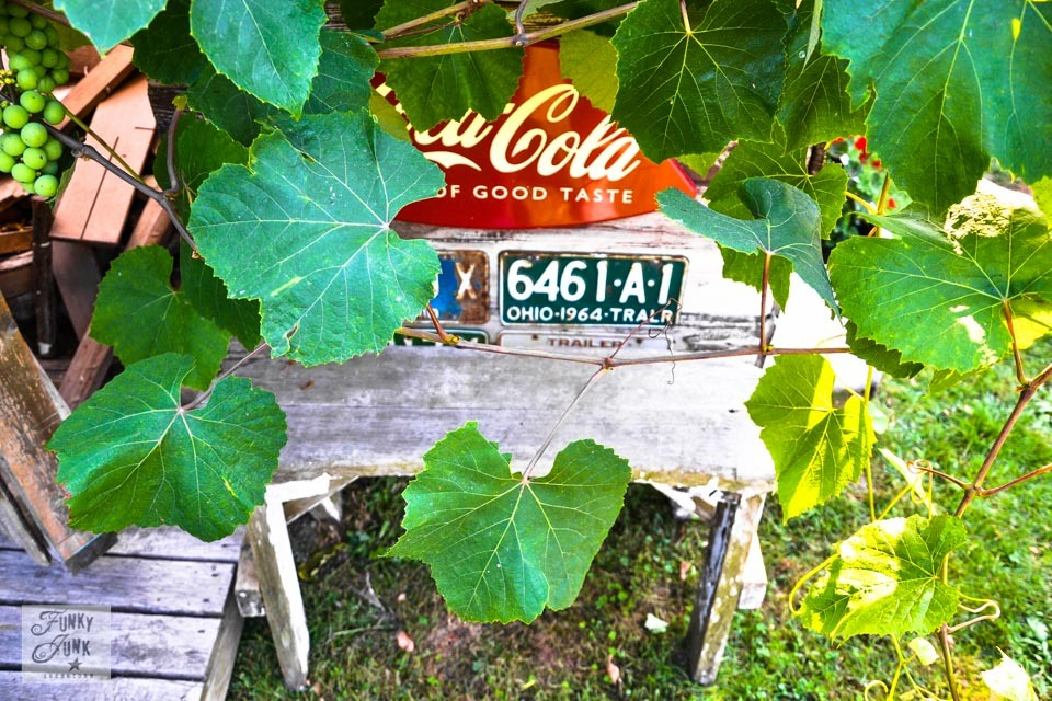 Rustic garden shed via Funky Junk Interiors - old license plates and coke sign