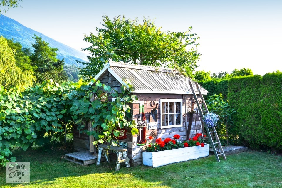Rustic garden shed via Funky Junk Interiors - from reclaimed wood and junk