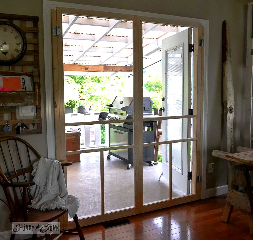 Create screen doors for french doors for only $35 a door! via http://www.funkyjunkinteriors.net/