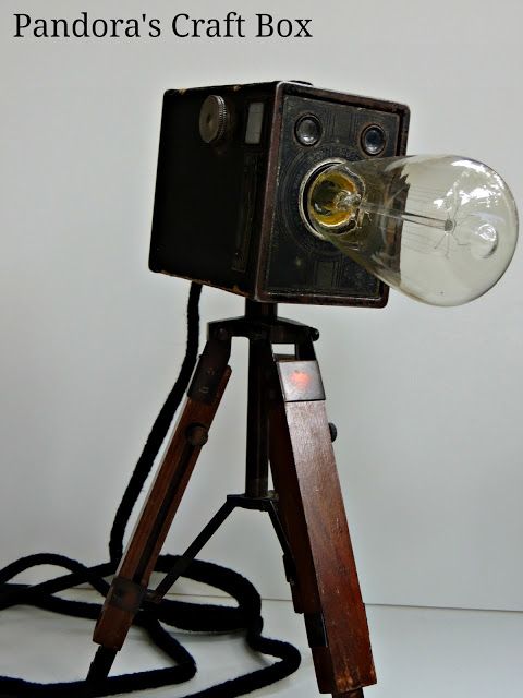 DIY Vintage Camera Tripod Lamps by Pandora's Craft Box