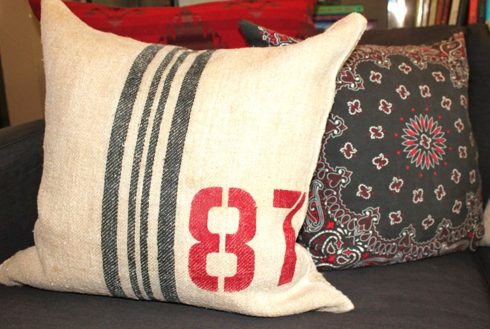 Fabulous grain sack pillow tutorial, by The Cavender Diary, featured on Funky Junk Interiors