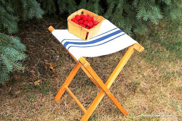 Grain sack inspired folding camping stool, by House of Hawthornes featured on Funky Junk Interiors