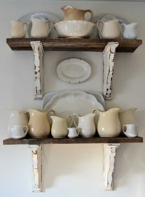 Barn wood shelves by Shabby Love