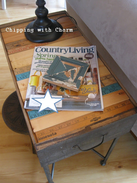 Old Drawers to End Tables - Chipping with Charm - old drawers and yardsticks detailing. Featured on Funky Junk Interiors