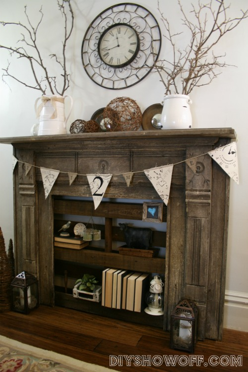 Faux fire place with pallet shelving by DIY Showoff