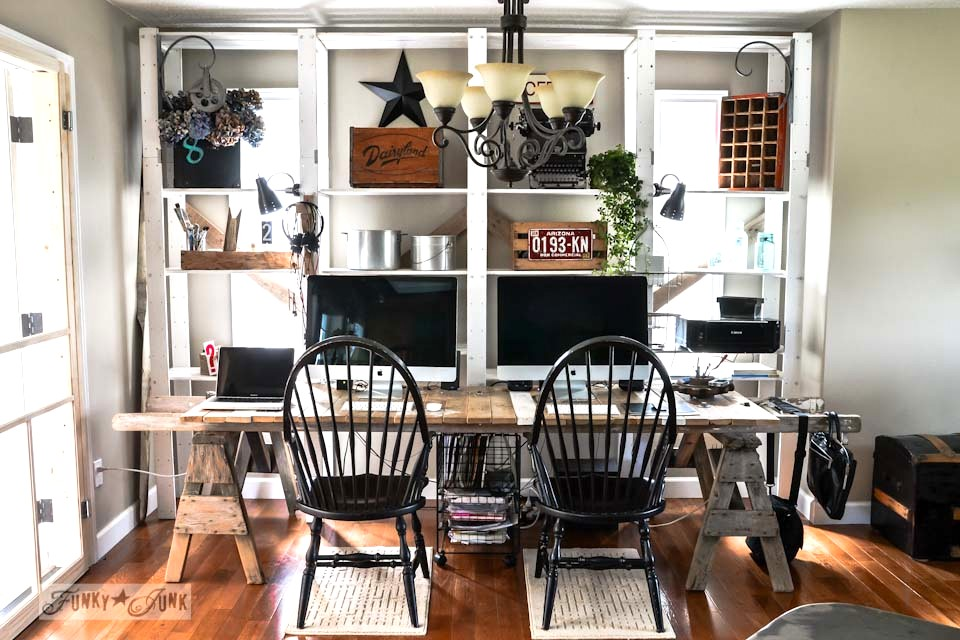 A pallet wood desk project, created from pallet wood, sawhorses and an old ladder. via https://www.funkyjunkinteriors.net/