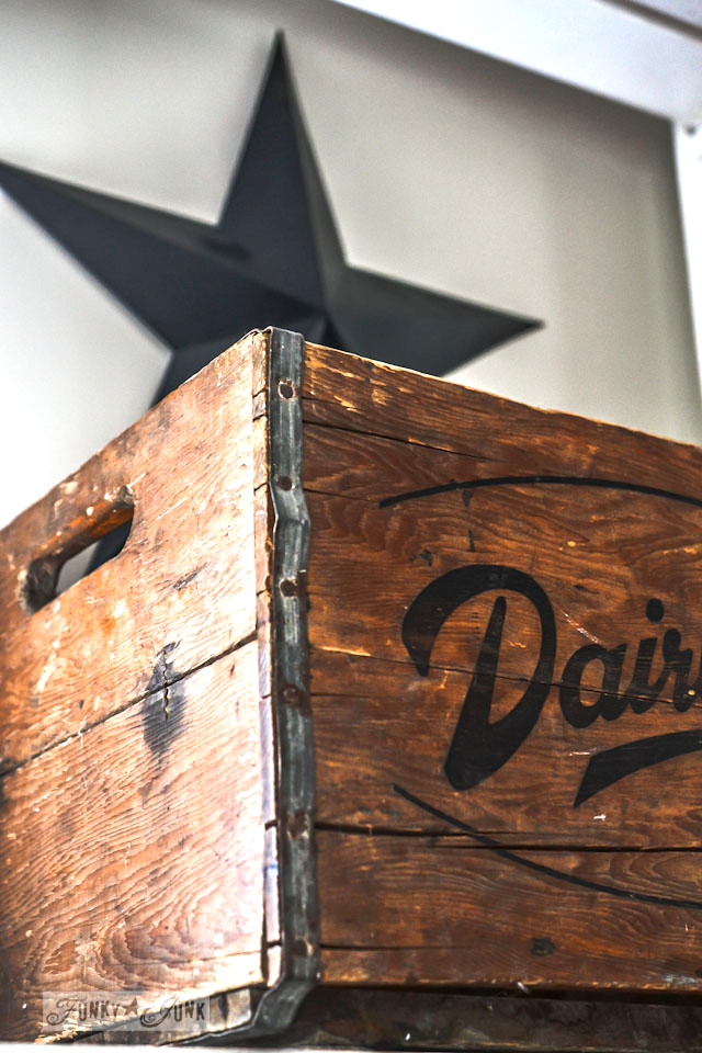 Vintage Dairyland wooden crate to store office paperwork, part of a junky office storage redo, via Funky Junk Interiors