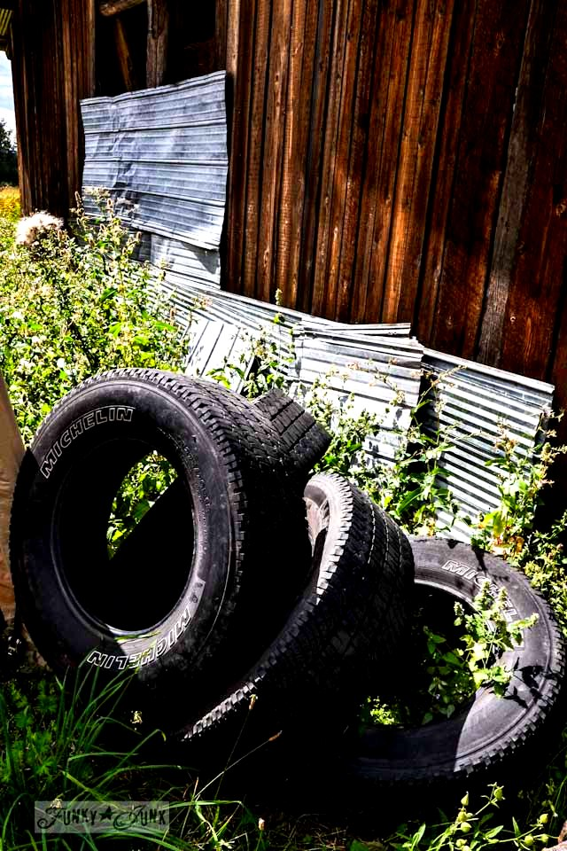 Metal siding and old tire find - Part 6 / Dreamy Cottage Grounds via Funky Junk Interiors