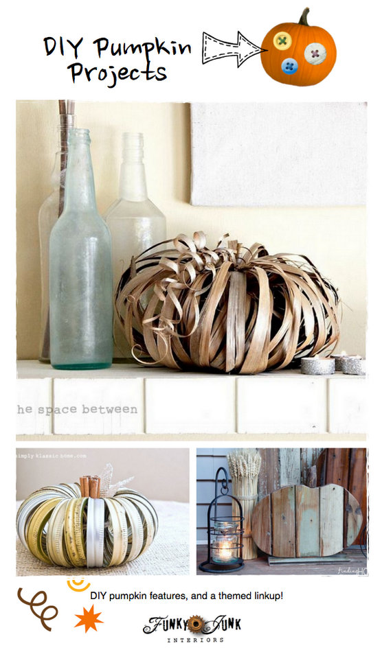 DIY Pumpkin Projects - features and a themed linkup via https://www.funkyjunkinteriors.net/