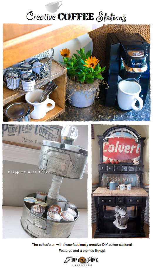 Creative DIY Coffee Stations - easy to create DIY ideas to serve up coffee in style! Features and a themed linkup on Funky Junk Interiors