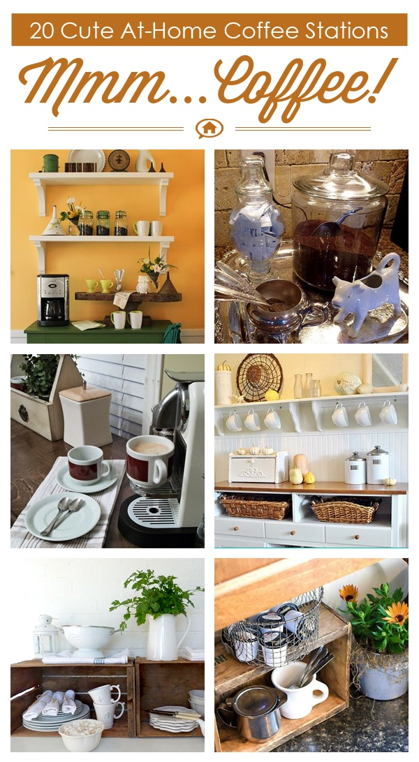 20 Cute At Home Coffee Stations via Hometalk, featured on Funky Junk Interiors