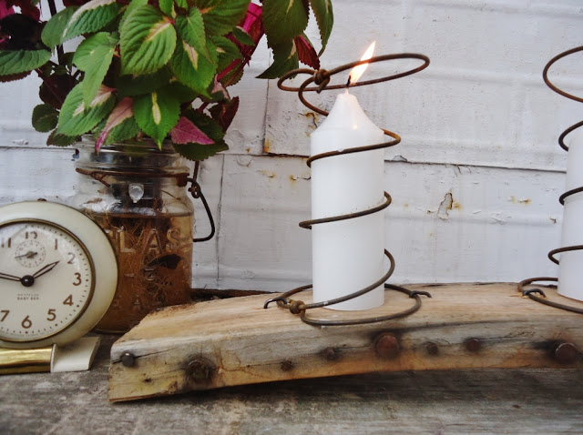 bed spring candle holder by Knick of Time, featured on mailbox towel holder by Bliss Ranch, featured on https://www.funkyjunkinteriors.net