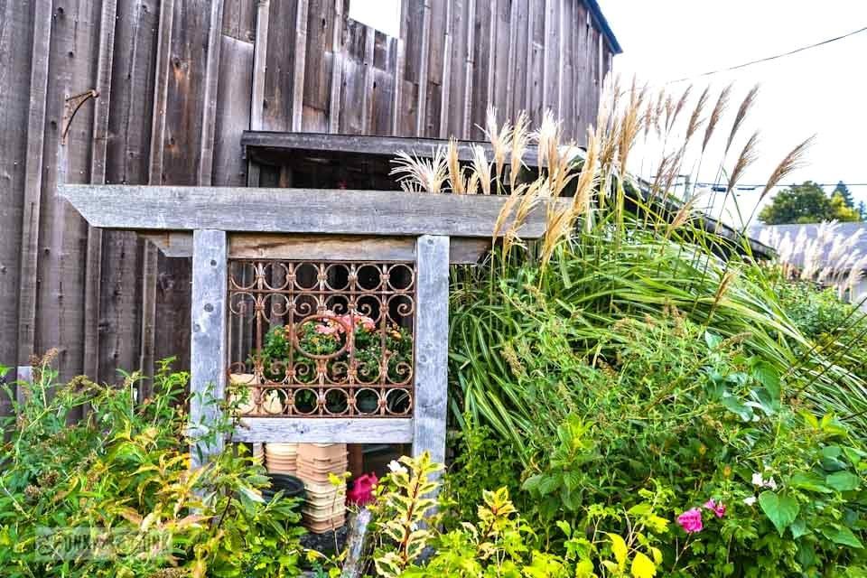 Reclaimed barn wood garden feature  / Reclaimed garden features at a Hope garden centre via https://www.funkyjunkinteriors.net/