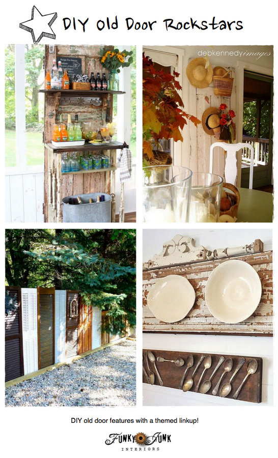 DIY Old Door Projects - fabulous old door ideas with features and a themed linkup! via https://www.funkyjunkinteriors.net/