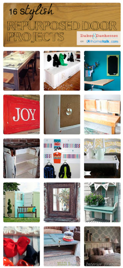 16 Stylish Repurposed Door Projects, curated from Hometalk, featured on Funky Junk Interiors