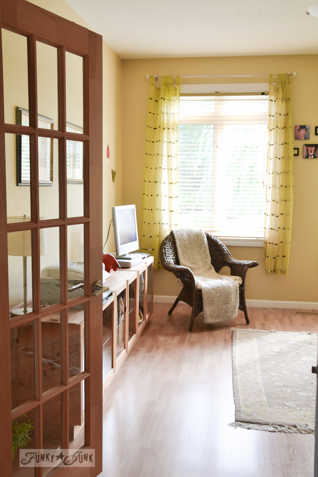 Yellow dotted curtains in a sun filled room / part of A Little R and R in a Bed and Breakfast via https://www.funkyjunkinteriors.net/