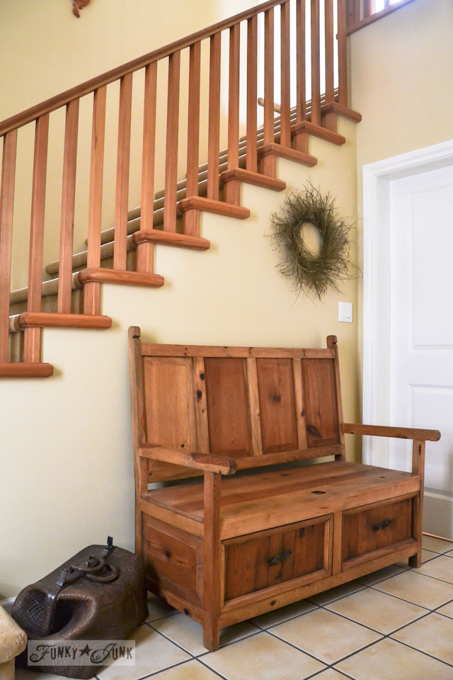 Rustic wooden staircase and bench and twig wreath / part of A Little R and R in a Bed and Breakfast via https://www.funkyjunkinteriors.net/