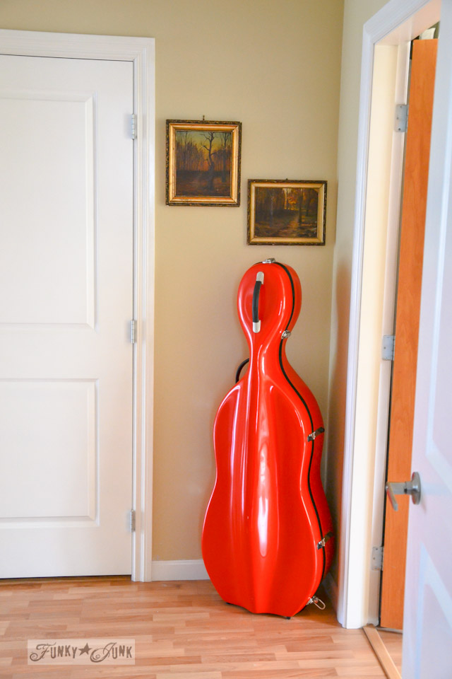 Colourful orange instrument case for decor / part of A Little R and R in a Bed and Breakfast via https://www.funkyjunkinteriors.net/