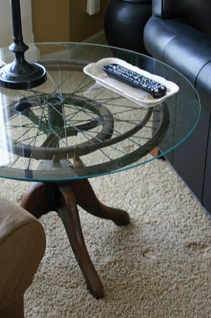 Wheelchair wheel side table by Mamie Jane's featured on https://www.funkyjunkinteriors.net