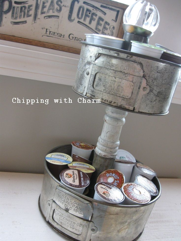 Cake pan K cup storage by Chipping with Charm featured on https://www.funkyjunkinteriors.net