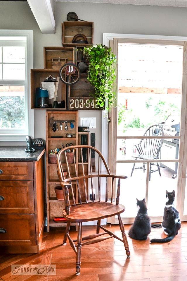 Crates on a wall kitchen phone station via https://www.funkyjunkinteriors.net/