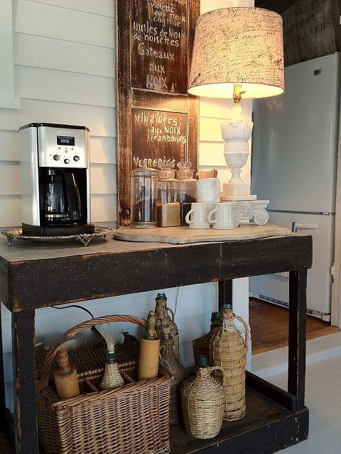 Rustic side table coffee station by Savvy City Farmer featured on Creative DIY coffee stations - Party Junk 206